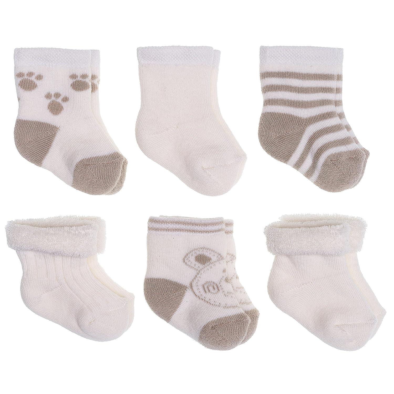 Baby Socken Erstlingssocken 6er Pack - Bärchen | warme Frottee Söckchen aus Baumwolle für Neugeborene (0-3 Monate) - Beige Creme Jacobs Babymoden