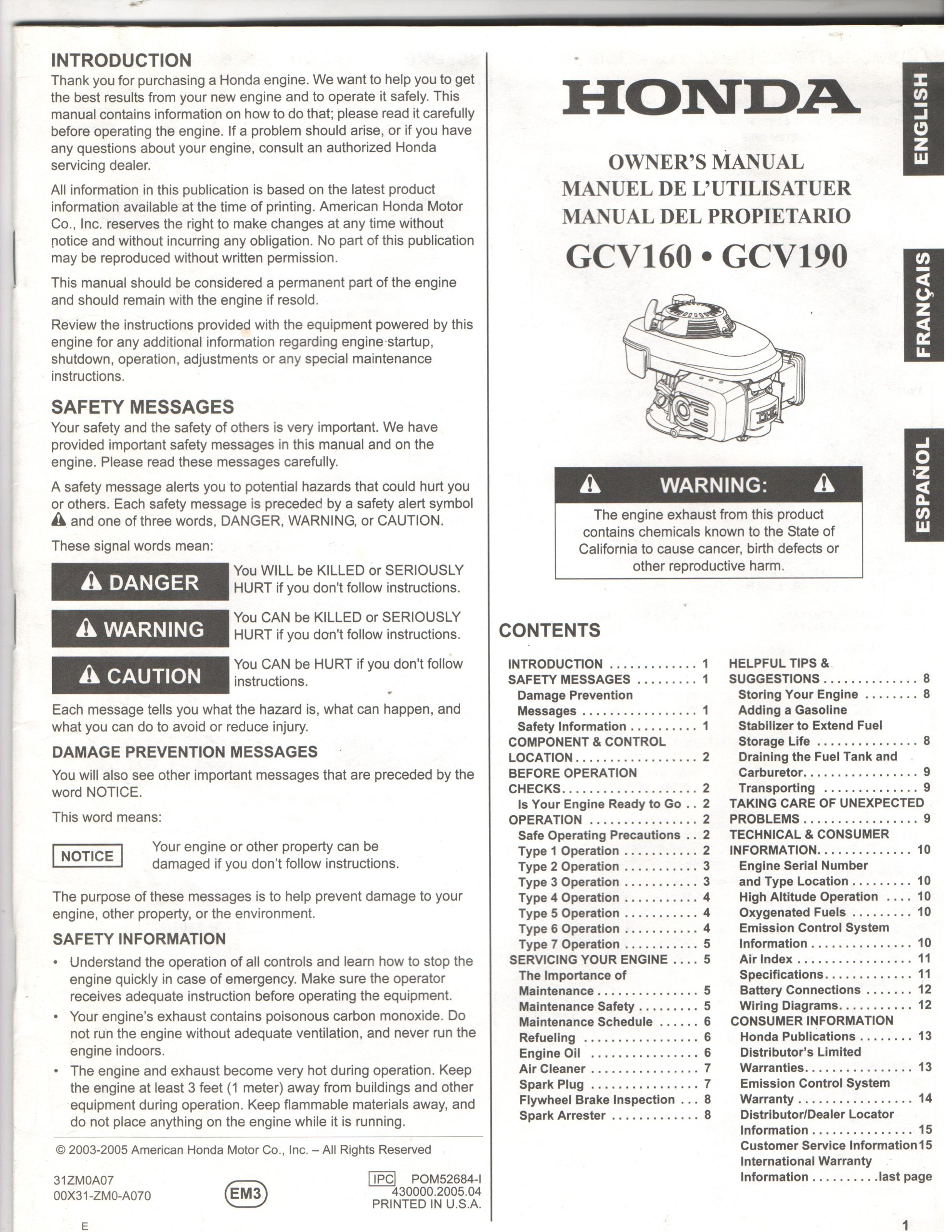 Honda Owners Manual >> Honda Owner S Manual Gcv 160 Gvc 190 Honda Amazon Com Books
