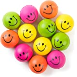 "Be Happy! Neon Colored Smile Funny Face Stress Ball - Happy Smiley Face Stress Balls Bulk Pack of 12 Relaxable 2.5"" Stress Relief Smile Squeeze Balls Fun Toys Christmas Stocking Stuffer"