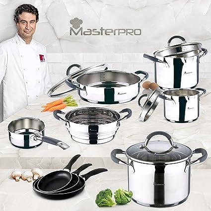 Masterpro - Batería de cocina set 13 piezas: Cazo Ø16 cm; Ollas rectas Ø16