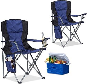 Relaxdays Pack de 2 Sillas Plegables Camping con Reposabrazos y ...