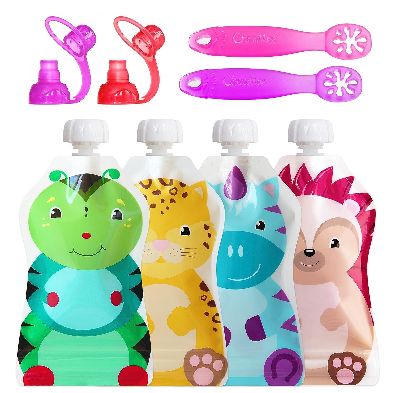 ChooMee 8-Piece Baby Self Feeding Learning Set, 4 Months Plus | SnakPack, SoftSip and FlexiDip, Purple Set