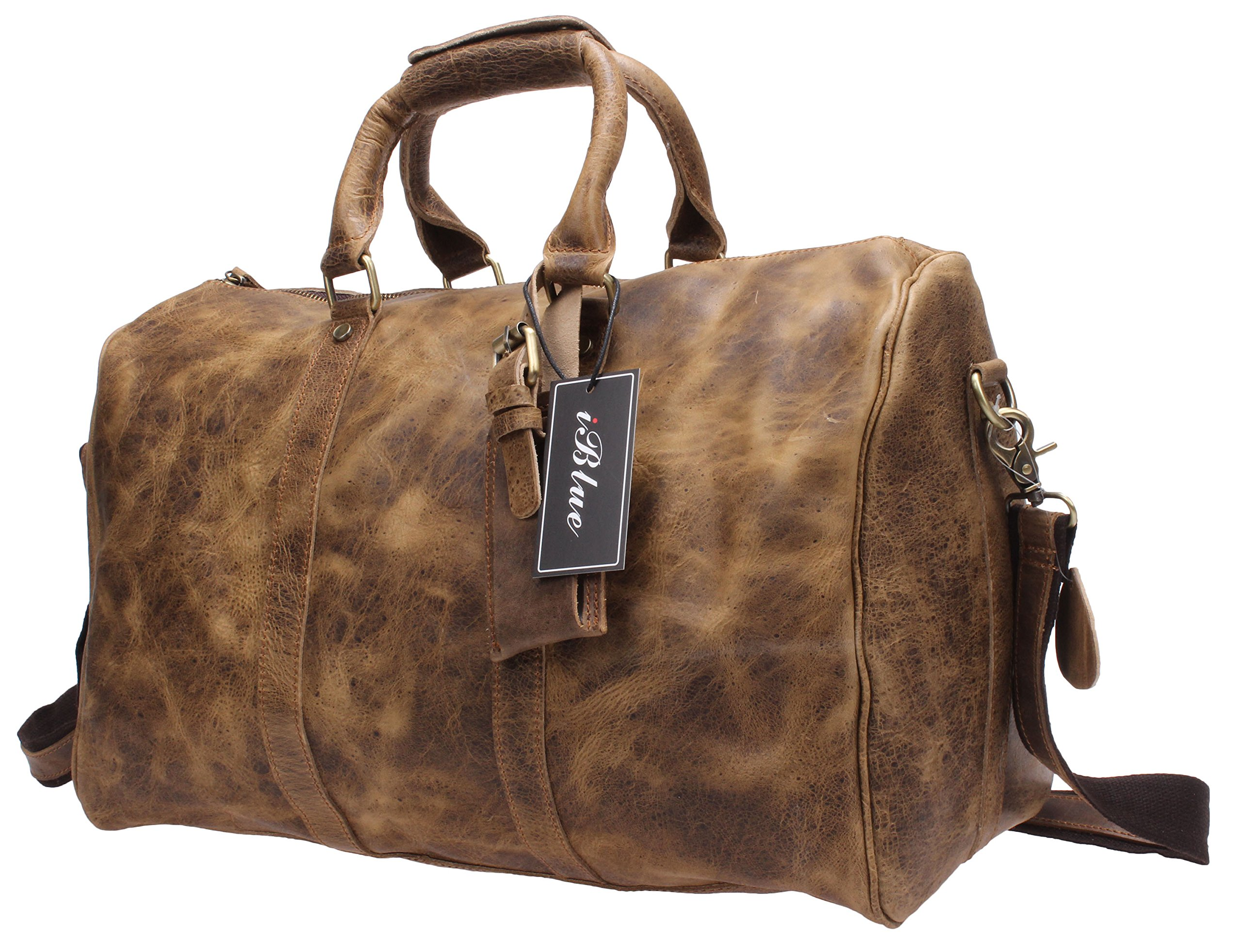 Iblue Men Leather Duffle Travel Overnight Weekend Bag Brown D03 (L, brown with spot)