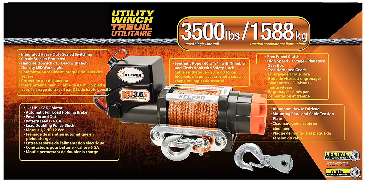 Amazon.com: Keeper KU4.5S 12V DC Utility, Trailer and Recovery Winch - 4500 lbs. Capacity: Automotive