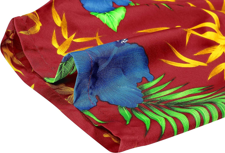 5XL Manica Corta Hawaii Tasca-Frontale Stampa Hawaiano Casuale Regular Fit Nero1890 LA LEELA Shirt Camicia Hawaiana Uomo XS
