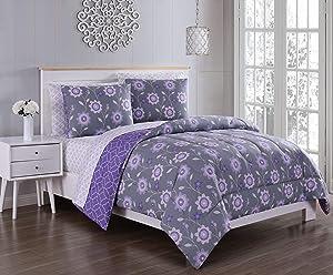 Geneva Home Fashion Britt Bed in a Bag, Queen, Grey/Purple