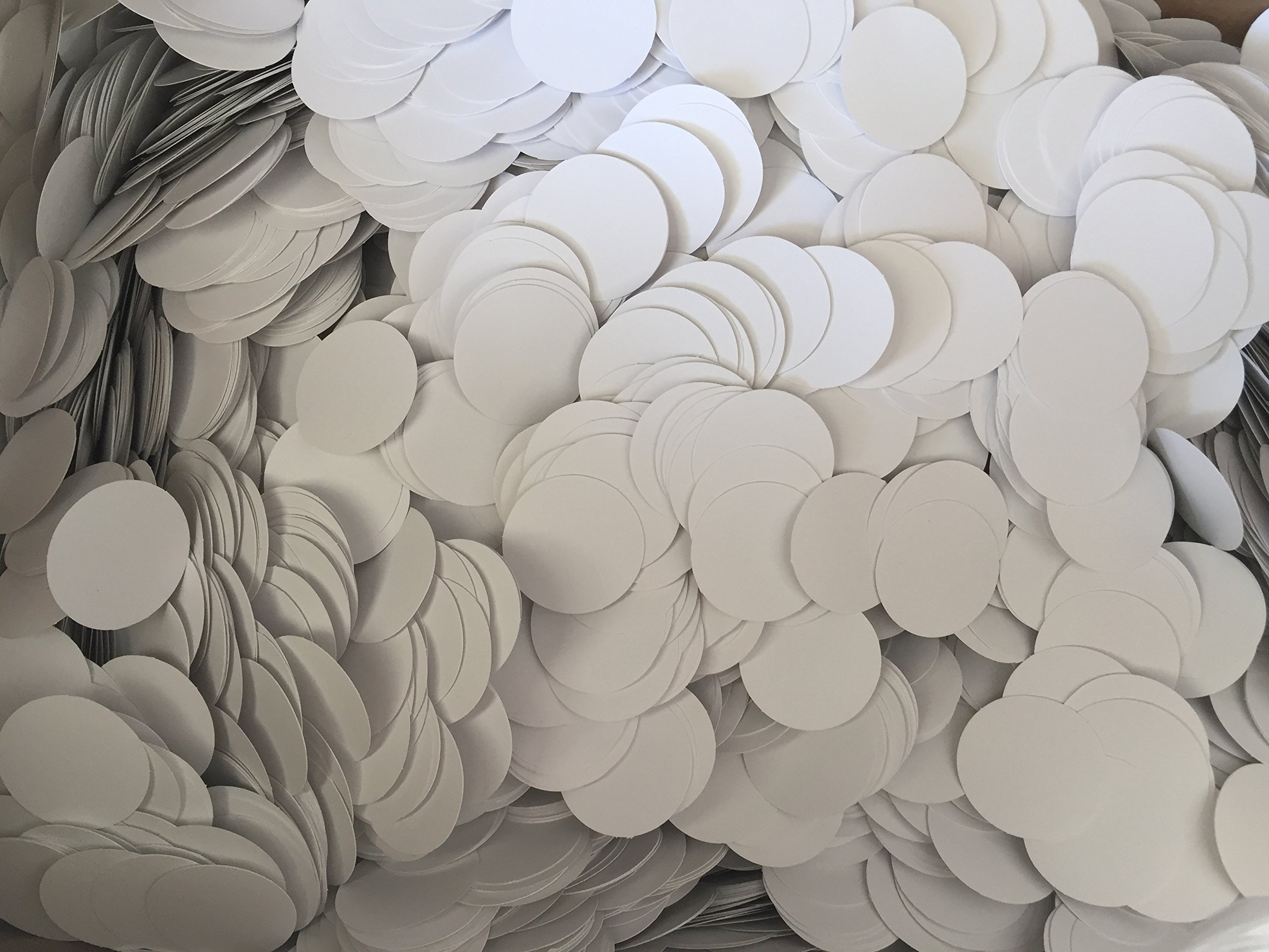 Confetti, 1.5 inch party circles. Thick card stock, White only, Die cut circles 2,000 qty