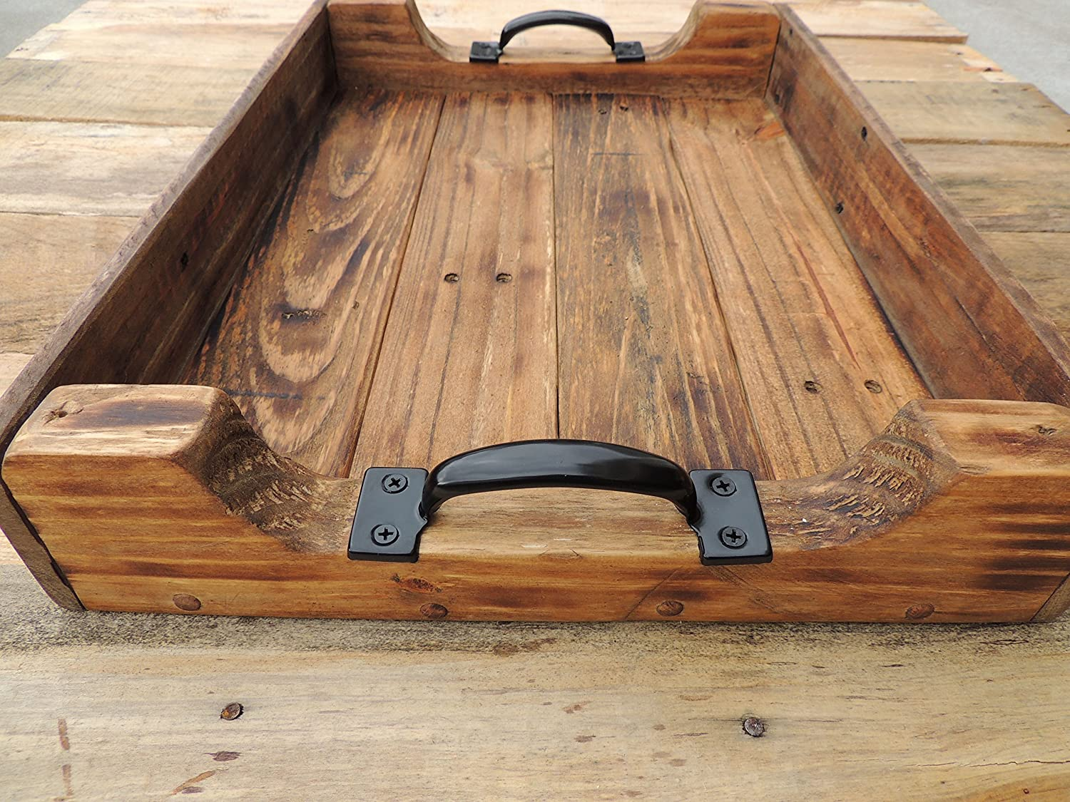Large Rustic Wood Coffee Table Ottoman Serving Tray