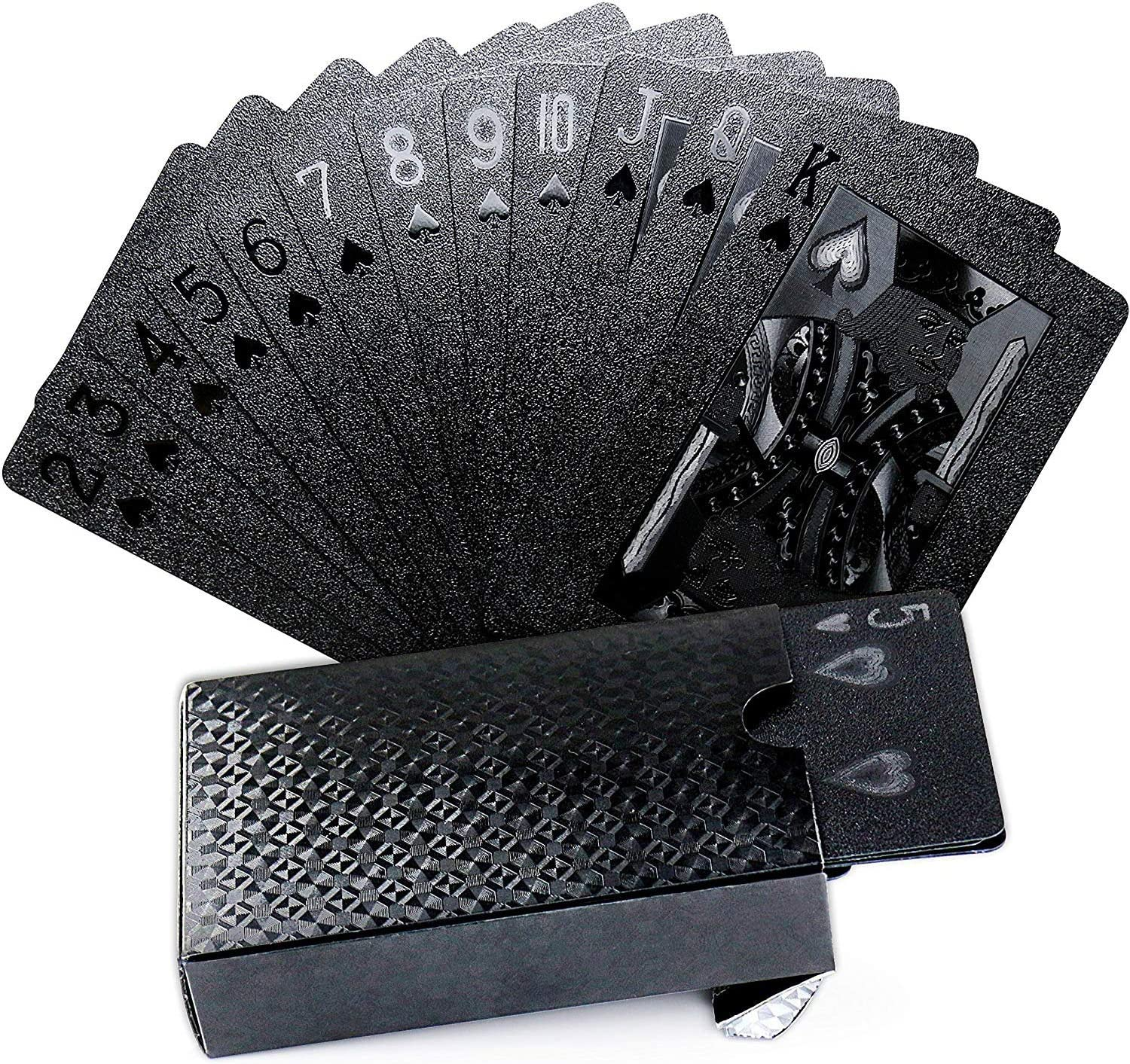 Joyoldelf Cool Black Foil Poker Playing Cards, Waterproof Deck of Cards with Gift Box, Use for Party and Game