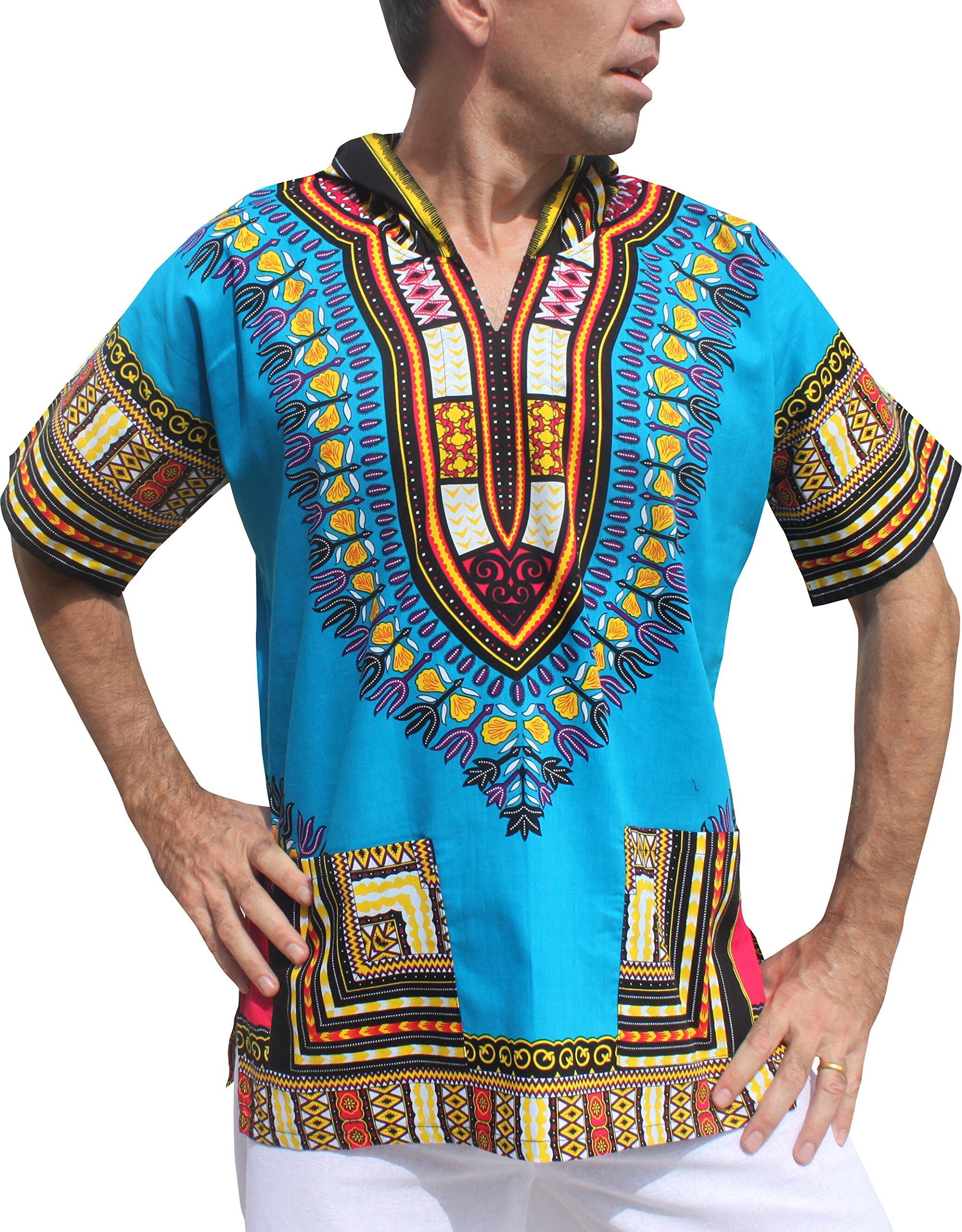 Full Funk Dashiki Light Hoody In Bright Colors Festival Party Shirt Short Sleeve, Medium, Dodger Blue
