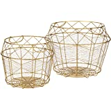 "Amazon Brand - Rivet Modern Tall Geometric Wire Baskets, Set of 2, 13.25""H and 10.75""H, Gold"