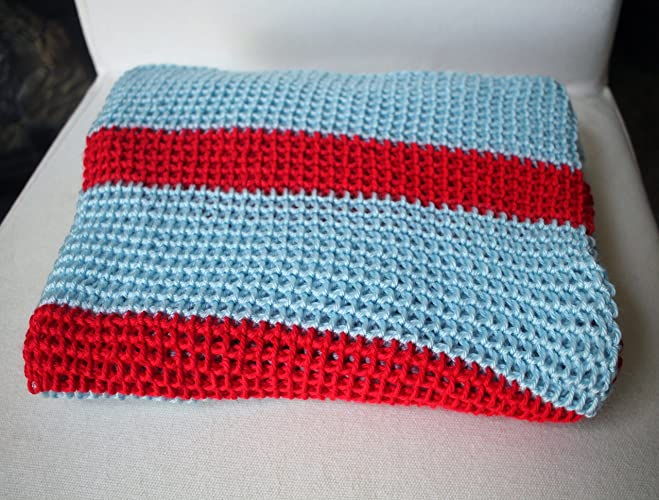 Amazoncom Striped Baby Blanket Afghan Throw Crochet Sky Blue And