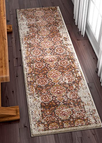Well Woven Modern Weave Distressed Traditional Vintage Persian Floral Brown Beige Dusty Pink 2×7 2 3 x 7 3 Runner Area Rug