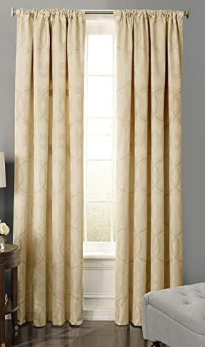Beautyrest 15779052108PLG Odette 52-inch by 108-Inch Blackout Single Window Curtain Panel, Pale Gold