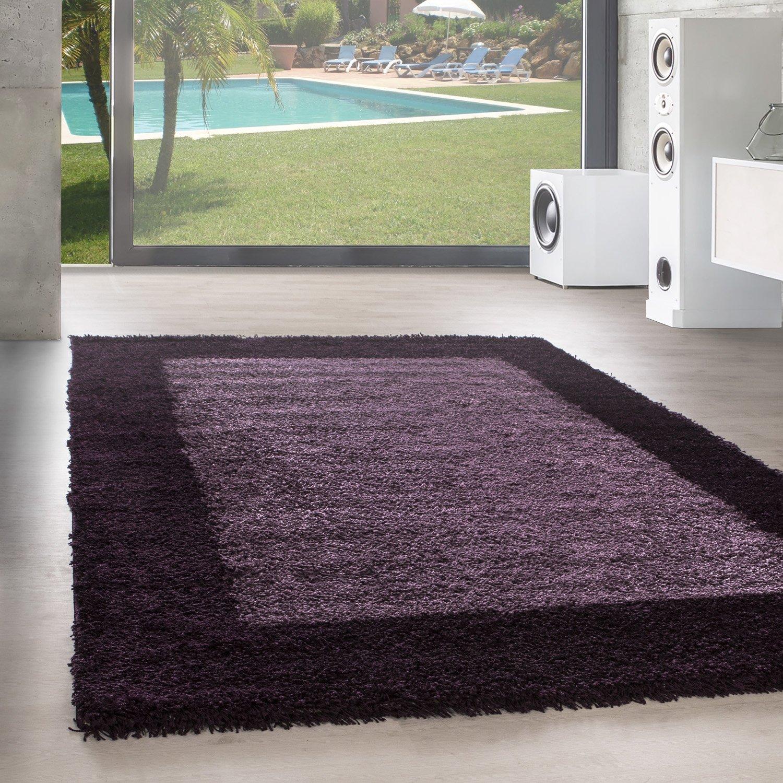 Unbekannt Shaggy Hochflor Langflor Bordüre Teppich Wohnzimmer Carpet Farben & Größen, Farbe Lila, Größe 300x400 cm
