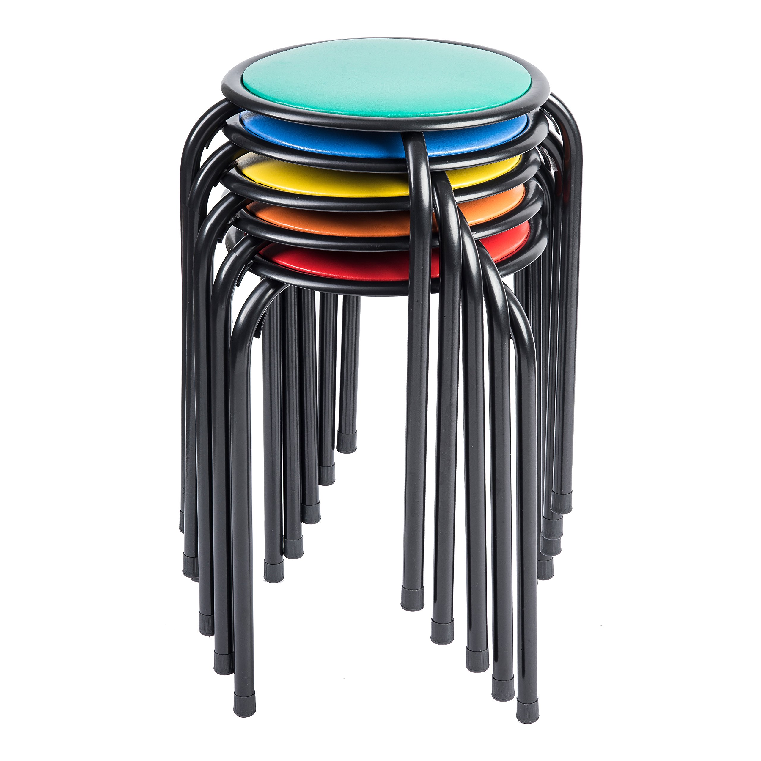 Pearington BW-6473 Kids Classroom & Home Padded Stool, Red/Blue/Green/Yellow/Orange (Pack of 5)