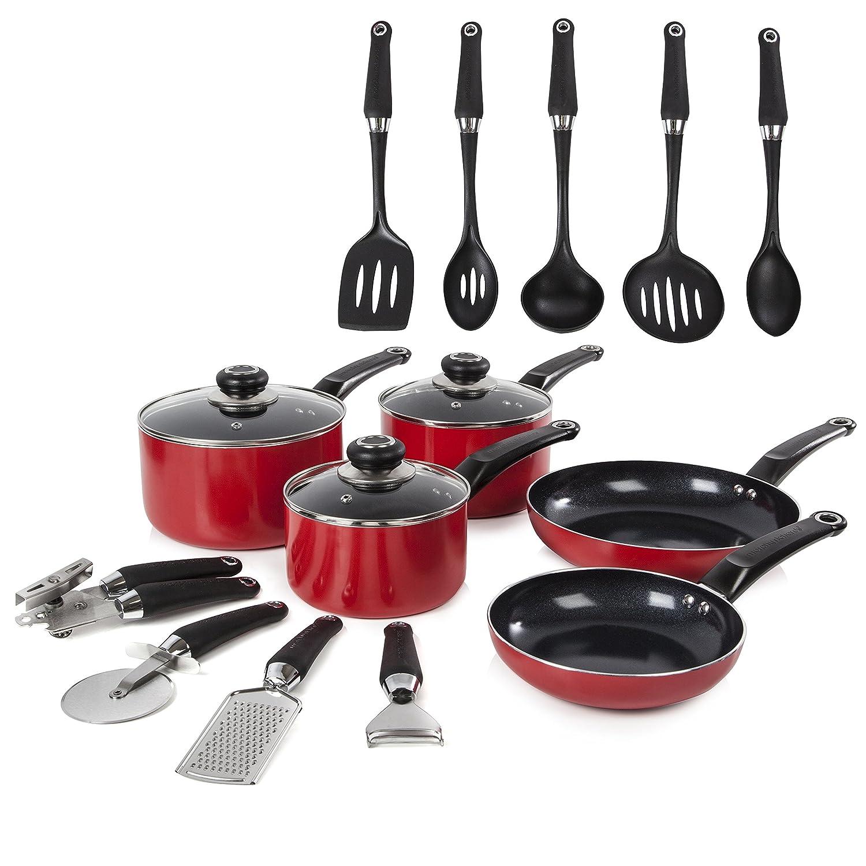 Morphy Richards Equip 5 Piece Pan Set with 9 Piece Tool Set - Cream 970042