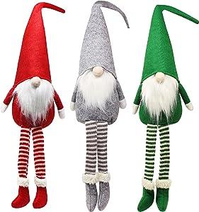 JOYIN 3pcs Christmas Gnome Swedish Santa Tomte Plush Gnome with Long Legs Tabletop for Christmas Decoration 20 inch