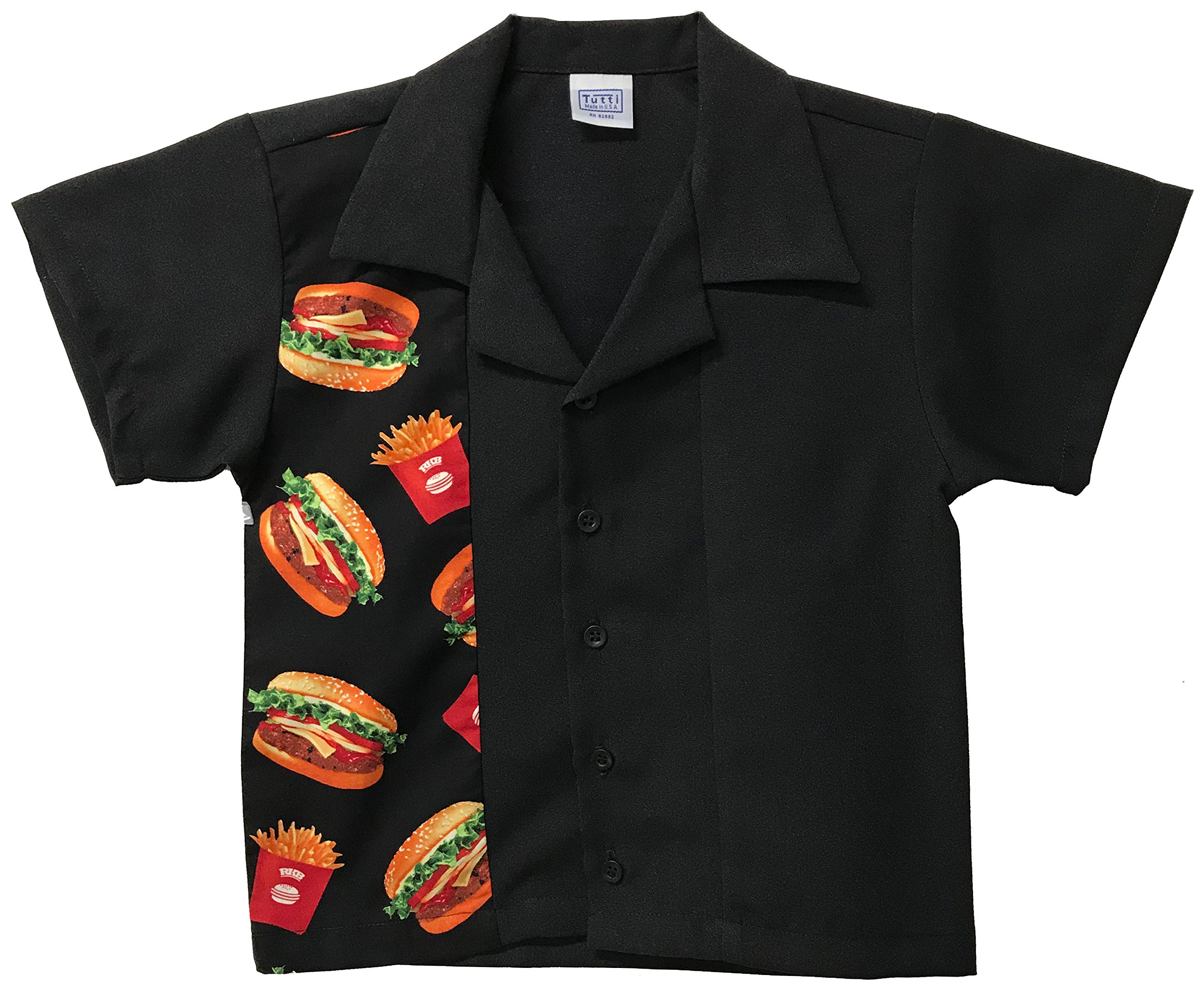 Tutti Kids Bowling Shirt Children Sizes with Burger and Fries Print Design (Small 2T-3T)