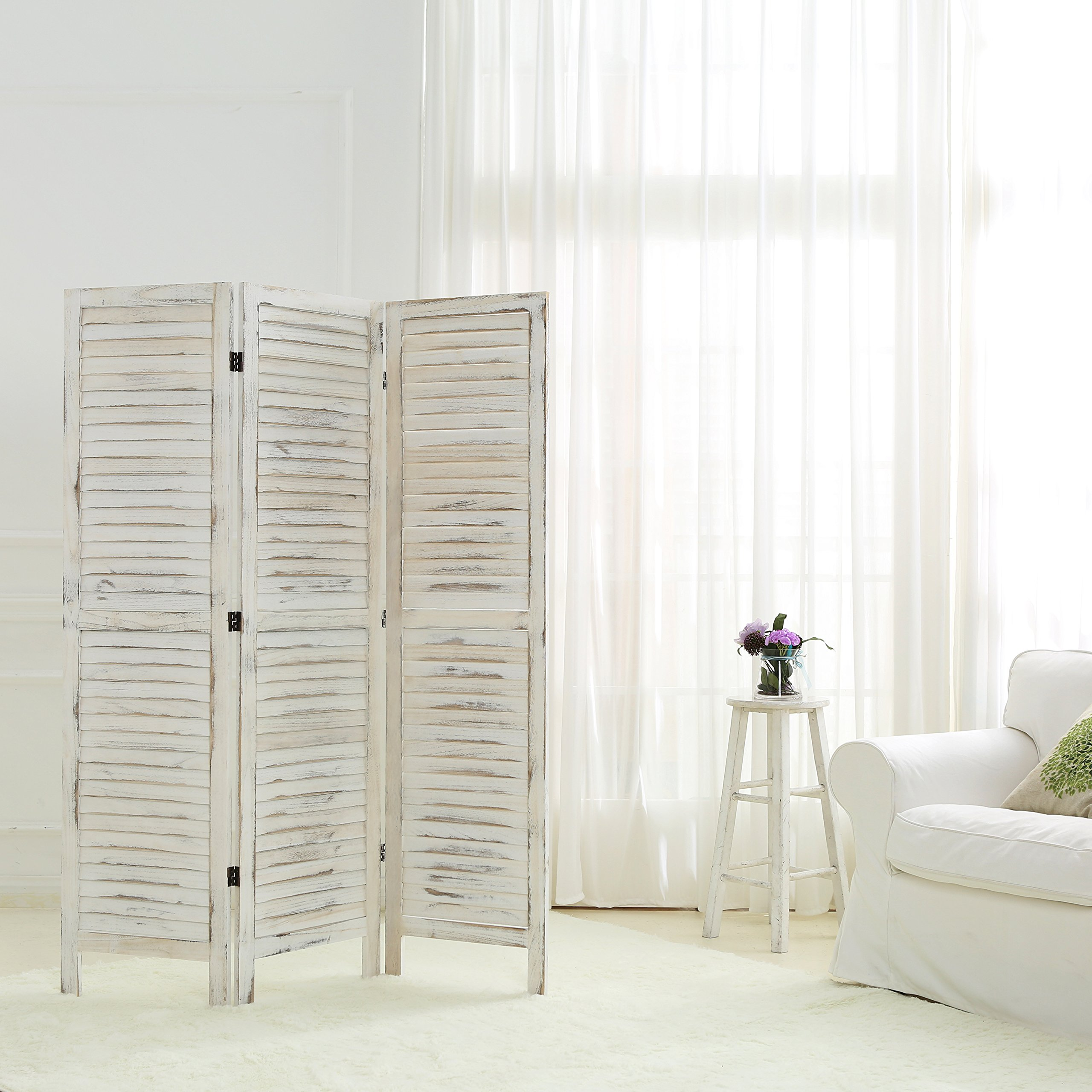 MyGift Whitewashed Wood 3 Panel Screen, Folding Louvered Room Divider by MyGift (Image #2)