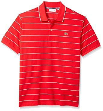 a185251fd Lacoste Men's Short Sleeve Heritage France Stripe Waffle Slim Polo, PH3199  at Amazon Men's Clothing store: