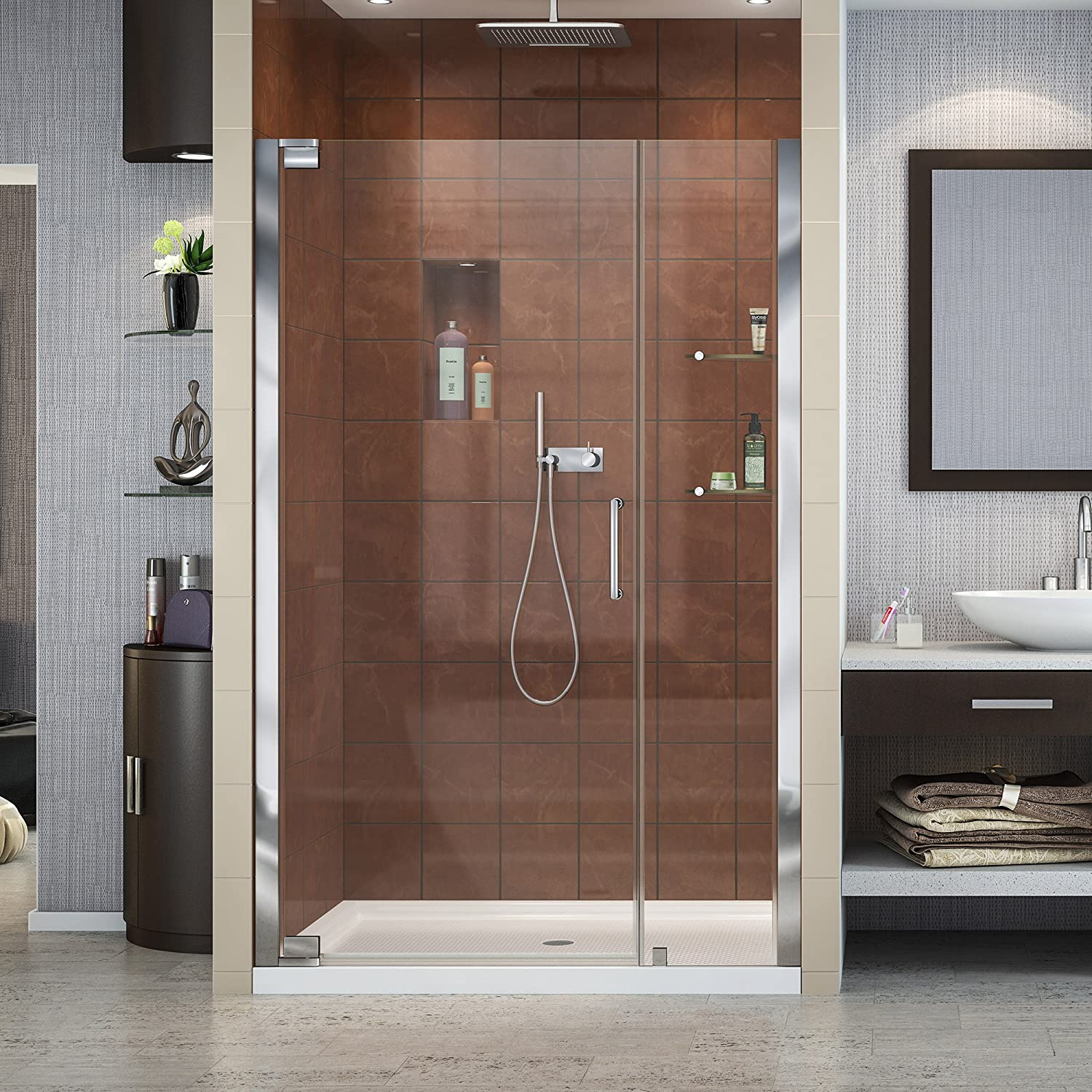 DreamLine Elegance 44 1 4 – 46 1 4 in. W x 72 in. H Frameless Pivot Shower Door in Chrome, SHDR-4144720-01