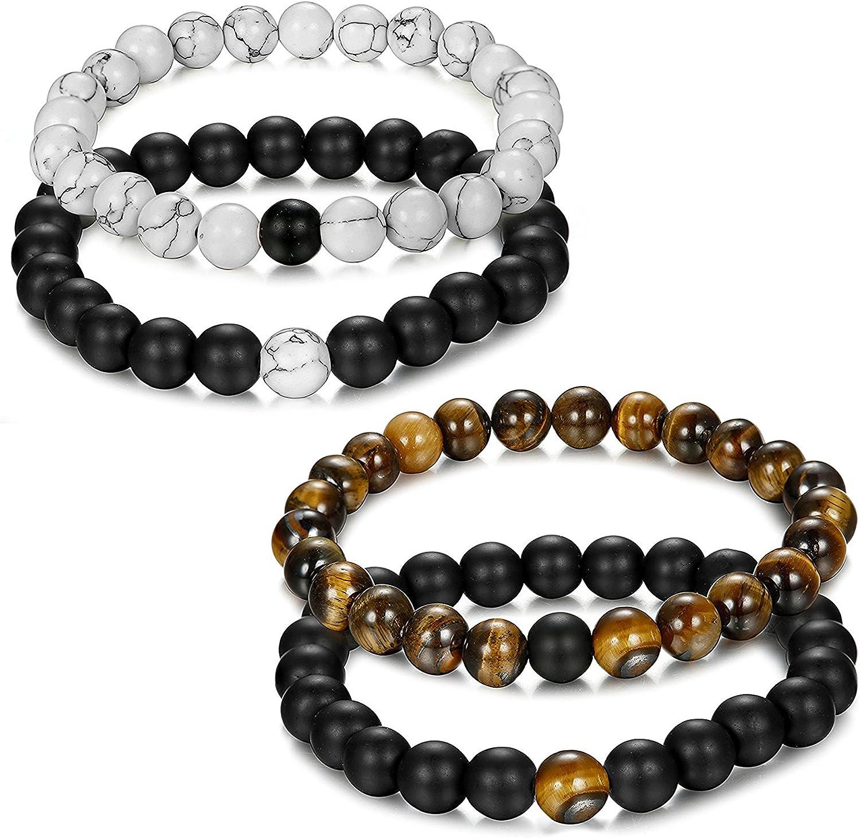 Jstyle joyas 4pcs (2pares) pulsera Couples perlas de energía Onyx negro mate piedra con ojo de tigre unisex pulseras para los hombres y las mujeres