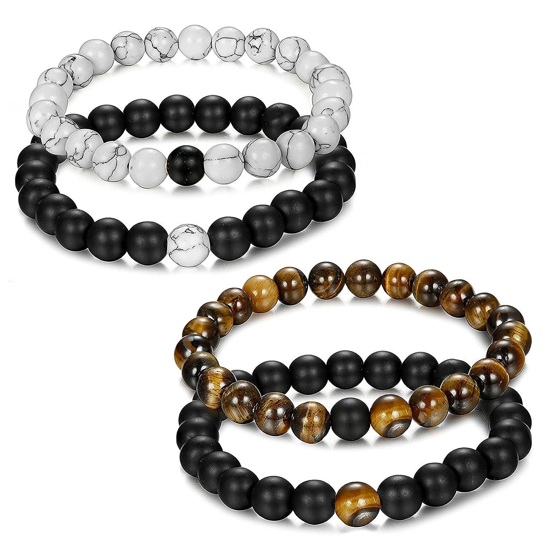 Jstyle joyas pcs pares pulsera Couples perlas de energía Onyx negro mate