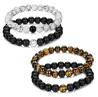 Jstyle Bijoux 4 Pcs(2 paires) Bracelet Couples Perles d\u0027Énergie Onyx Noir