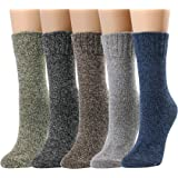 5 Pairs Women Crew Socks Casual Comfy Wool Cotton Warm Boot Socks Assorted Color