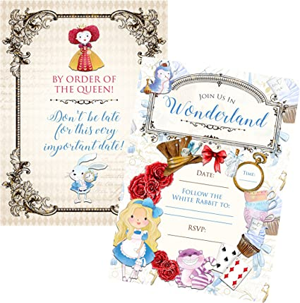 Disney Invites Pack of 20 Alice in Wonderland Party Invitations with Envelopes