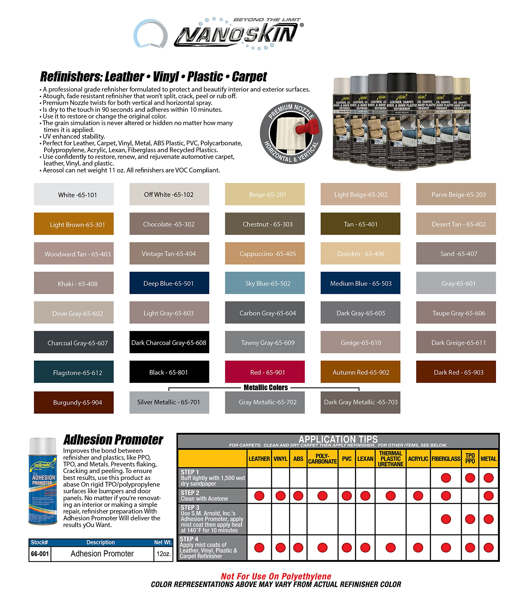 SM Arnold (65-612) Leather, Carpet, Vinyl & Hard Plastic Refinisher, Flagstone - 11 oz.
