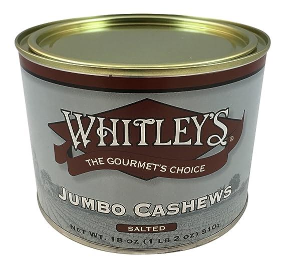 Whitleys Jumbo Cashews Salted 18 oz.