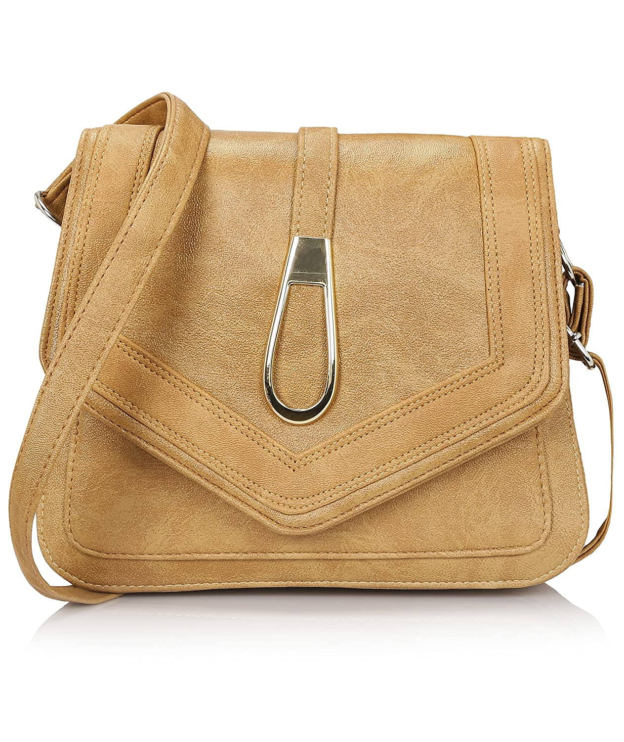e9f4419fc0 Amazon.com  Kleio Stylish Trendy Faux Leather Crossbody Shoulder Purse Bag  For Women Ladies Girls (Beige)  Shoes