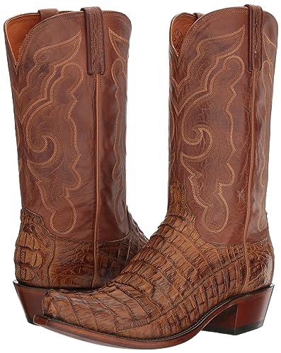f889e30462c Lucchese Men's Handmade Franklin Hornback Caiman Tail Western Boot Snip Toe