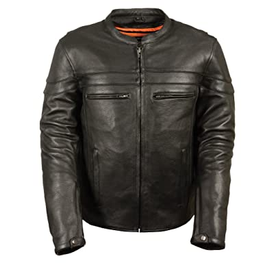 Milwaukee Leather Men's Sporty Scooter Crossover Leather Jacket (Black, 4X-Large): Leather King: Automotive