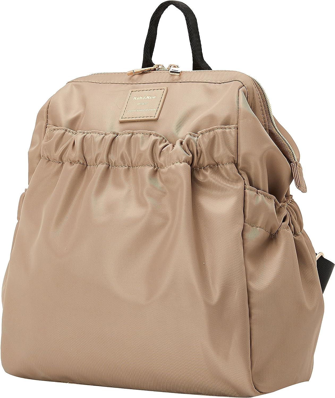 Kah Kee Rucksack Damen Klein Mini Wasserdicht Nylon Lässiger Daypacks Tasche 10 Liter Beige Schuhe Handtaschen