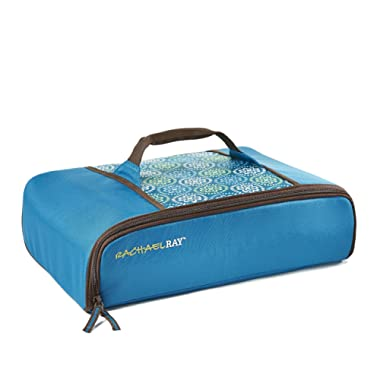 Rachael Ray Universal Thermal Carrier, Fits 9 X13  Baking Dishes, Insulated Casserole Carrier for Hot and Cold Transport, Marine Blue Floral Medallion