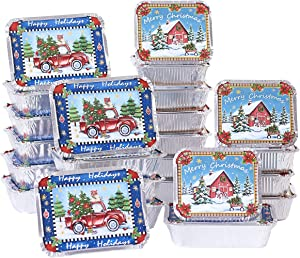 Aluminum Food Containers for Christmas, Winter, Holidays - Set of 24