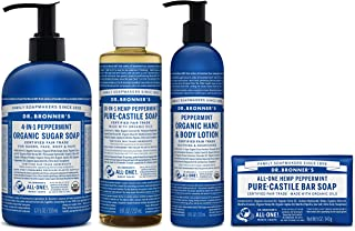 product image for Dr. Bronner's - 4 Piece Peppermint Gift Set - (1) 12 Ounce Sugar Soap, (1) 8 Ounce Pure-Castile Liquid Soap, (1) 8 Ounce Lotion, and (1) 5 Ounce Bar Soap
