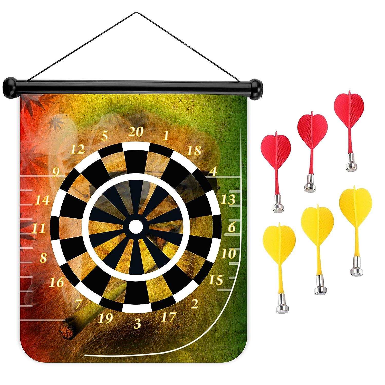 15インチMagnetic Dart Board Double Sided Hanging Dart Board Set and Bullseyeゲーム。Cigarライオン   B0799LC7SJ