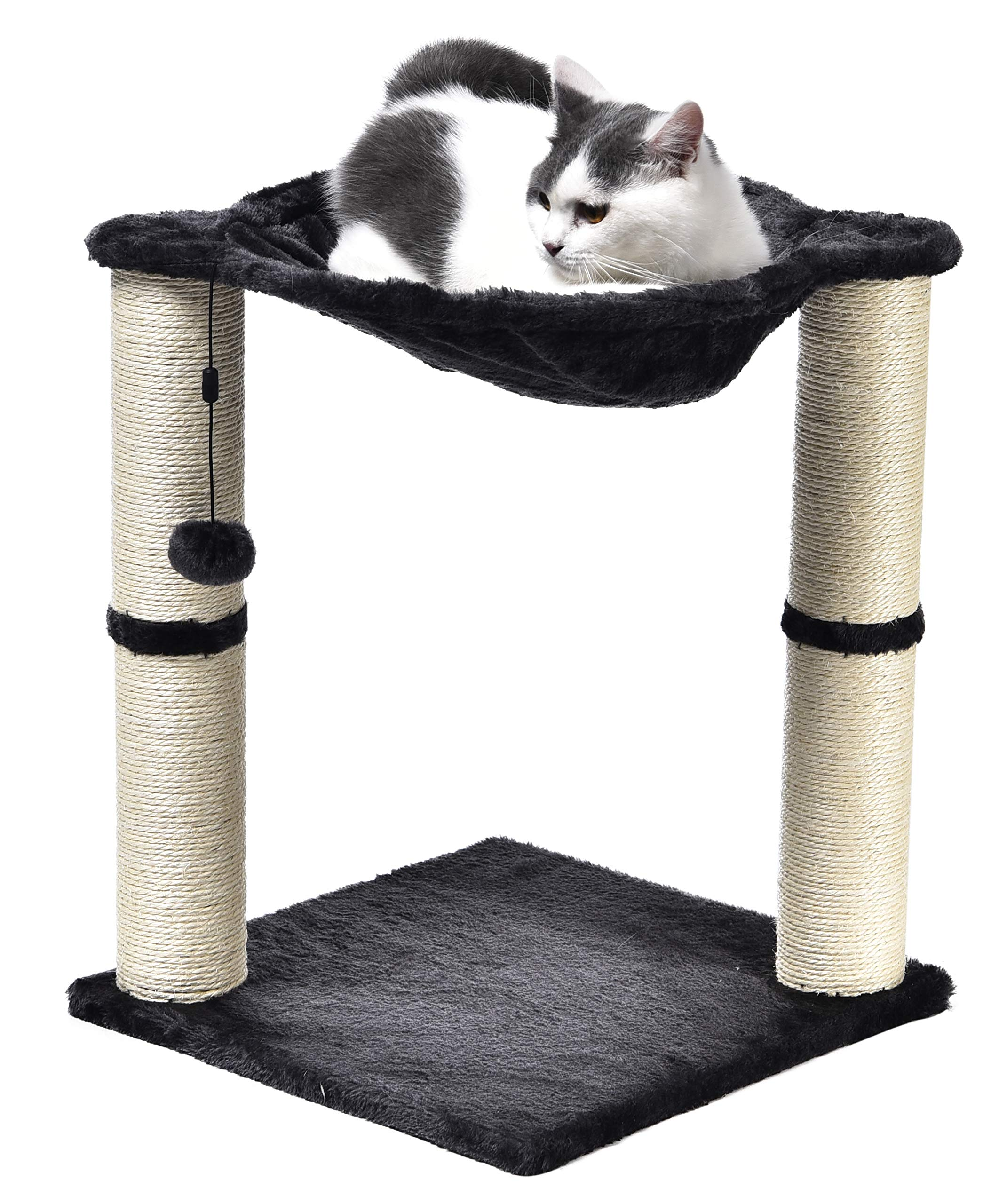 AmazonBasics Cat Condo Tree Tower With Hammock Bed And Scratching Post - 16 x 20 x 16 Inches, Grey by AmazonBasics