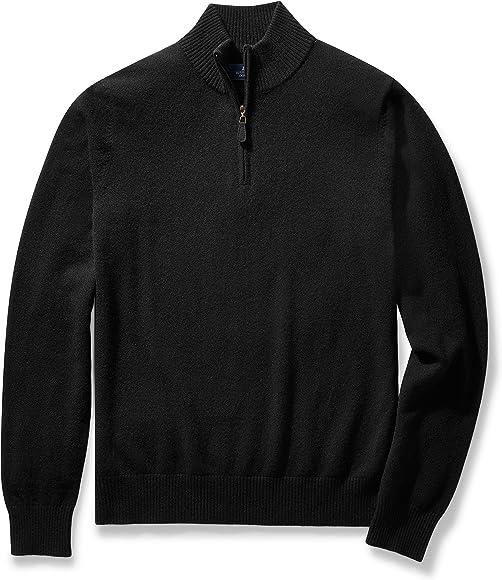 eb2f75d3d2 Amazon.com: BUTTONED DOWN Men's Cashmere Quarter-Zip Sweater, Black ...