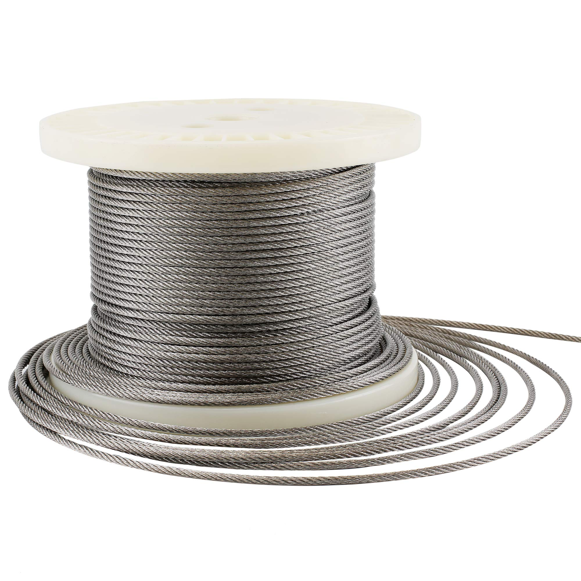 Muzerdo 200Ft Stainless 1/8Inch Aircraft Steel Wire Rope Cable 7x7 for Railing, Decking, DIY Balustrade