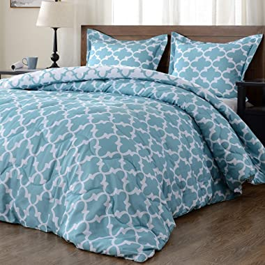 downluxe Lightweight Printed Comforter Set (Queen,Teal) with 2 Pillow Shams - 3-Piece Set - Down Alternative Reversible Comforter