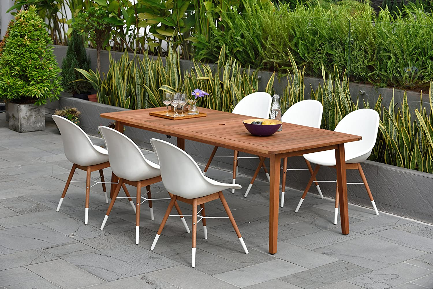 Brampton 7 Piece Outdoor Eucalyptus Rectangular Dining Set   Perfect for Patio   with White Chairs