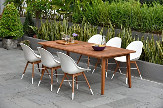 Brampton Eucalyptus - Juego de 7 comedores para patio, color blanco: Amazon.es: Jardín