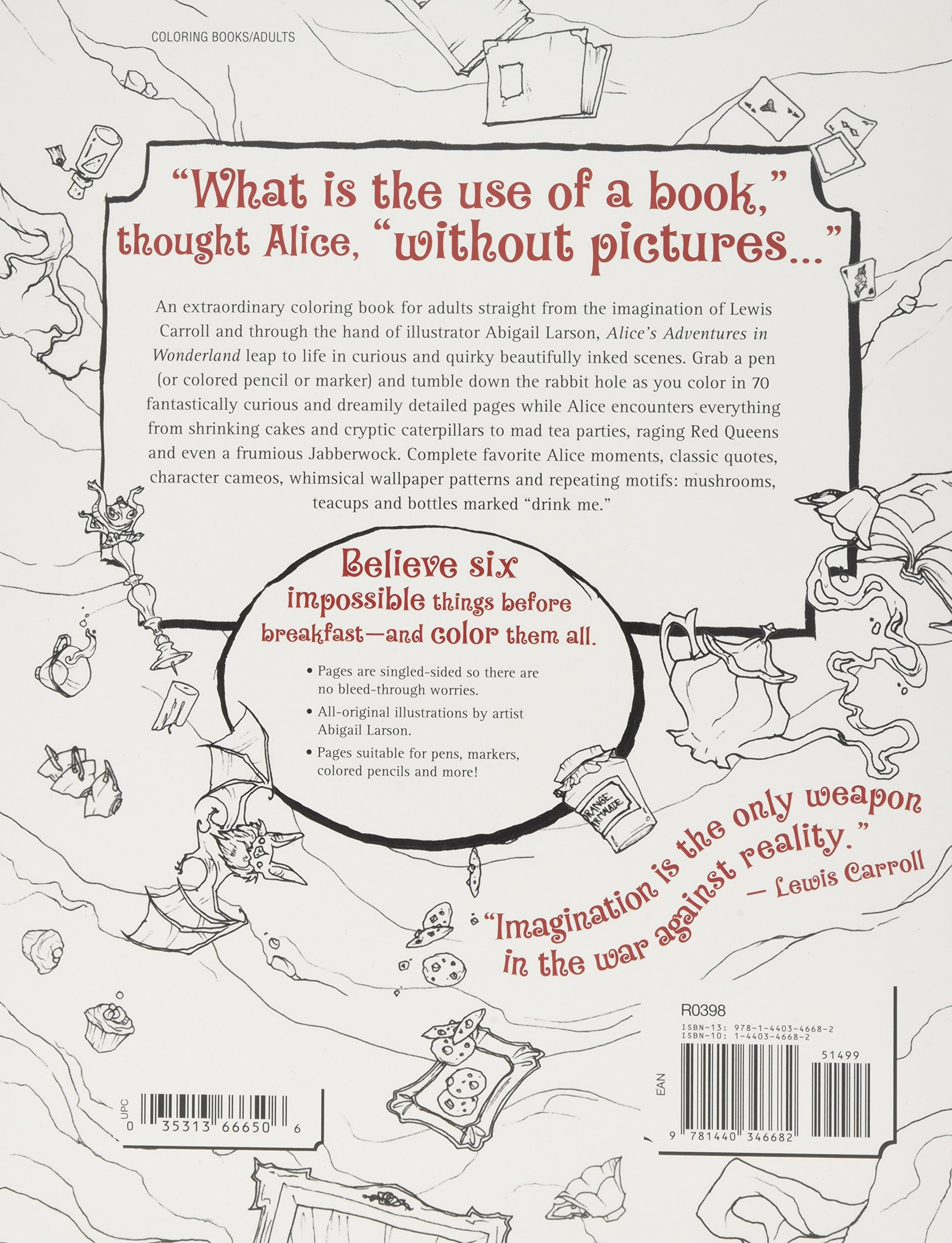 Amazon Alices Wonderfilled Adventures A Curious Coloring Book For Adults 0035313666506 Abigail Larson Books
