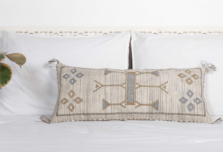 Cactus Silk Lumbar Pillow, Rustic Throw Pillow, Extra Long Lumber Pillow, Linen Cushion, Handmade Sabra Pillow Moroccan Decor Pillow 12x28