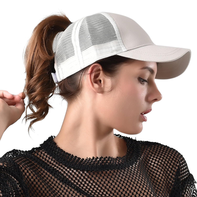 89fa978a8c7 FURTALK Womens Messy Bun Ponytail Mesh Outdoor Trucker Hat Adjustable  Snapback Blank Baseball Cap Hat at Amazon Women s Clothing store